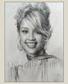 рисунок портрета карандашом, Джесика Альба