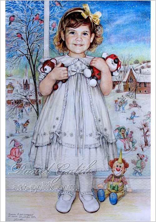 рисунок цветными карандашами - девочка с игрушками