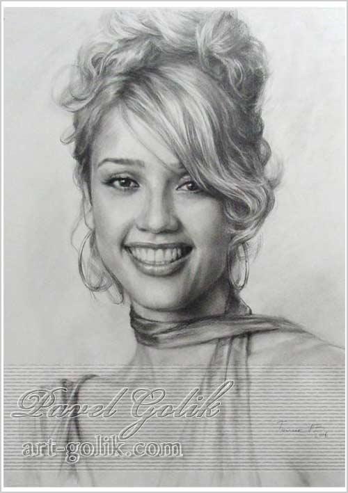 портрет карандашом с фото - Джесика Альба