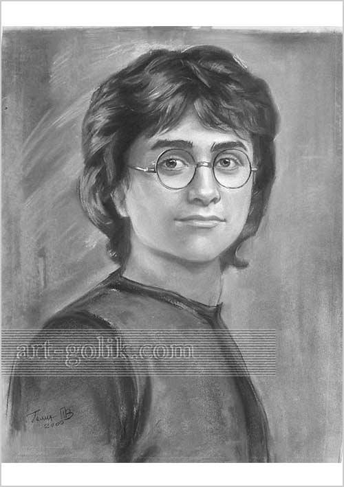 рисунок угольным карандашом - Гарри Поттер - Дэниел Рэдклифф