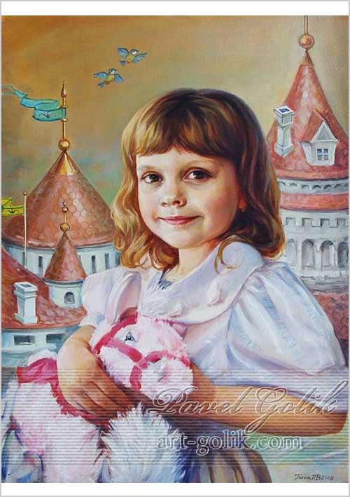 детский портрет на заказ - девочка на фоне замка