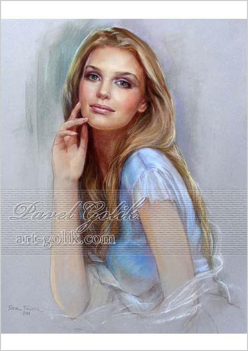 изображение девушки - пастель по бумаге