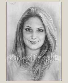 девушка нарисованная карандашом