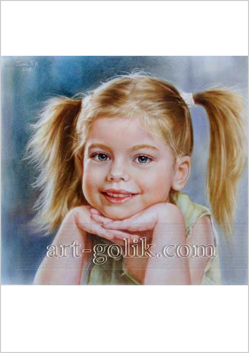 девочка с улыбкой - цветная сухая кисть