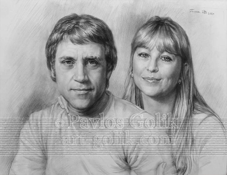 Карандашный портрет В. Высоцкого и Марины Влади